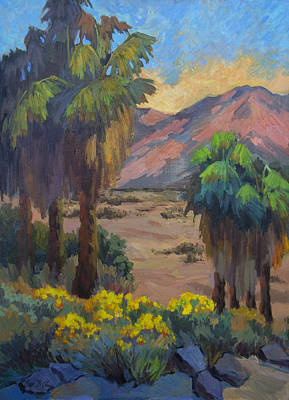Canyon Painting - Desert Marigolds At Andreas Canyon by Diane McClary