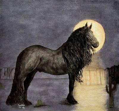 Desert Moonlight And Friesian Stallion Original by Sandra Maddox