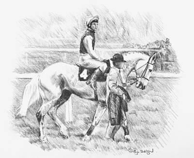 Steeplechase Race Drawing - Desert Orchid  by Kathryn Dalziel