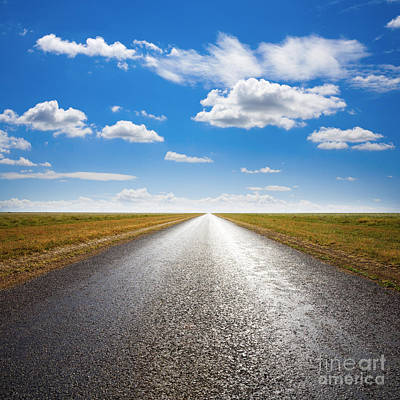 Cumulus Photograph - Desert Road And Dramatic Sky by Colin and Linda McKie