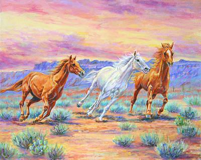 Desert Painting - Desert Run by Nancy L Baker