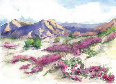 Datura Painting - Desert Verbena by Maria Hunt