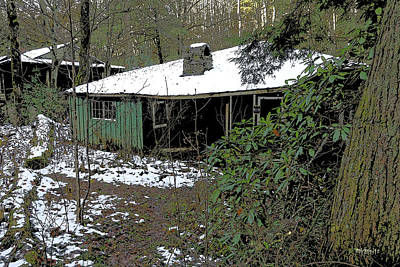 Old House Painting - Deserted Cabin Elkmont - Rhododendrum And Ruins by Rebecca Korpita