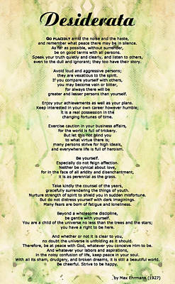 Desiderata Poem On Antique Paper Painting - Desiderata 5 - Words Of Wisdom by Sharon Cummings