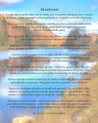Desiderata - Bald Mountain Pond - Old Forge New York Print by David Patterson