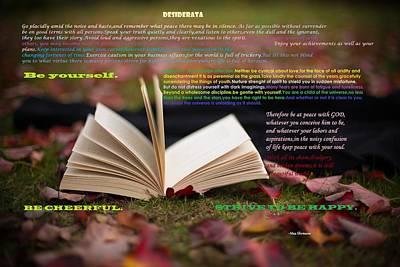 Famous Book Digital Art - Desiderata by Eti Reid
