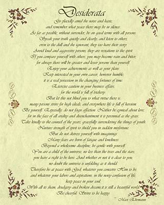 Desiderata Drawing - Desiderata Gold Bond Scrolled by Movie Poster Prints