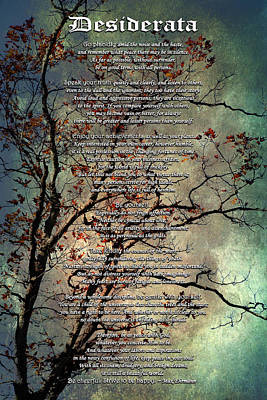 Desiderata Inspiration Over Old Textured Tree Print by Christina Rollo