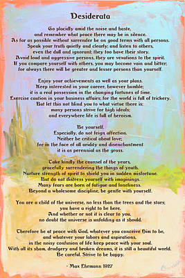 Desiderata - Journey Print by Paulette B Wright