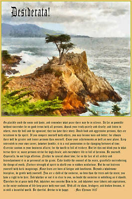 Desiderata Digital Art - Desiderata Lone Cypress by Max Ehrmann