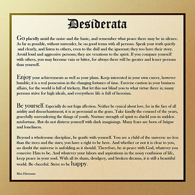 Desiderata Old English Square Print by Christina Rollo