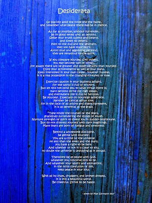Desiderata On Blue Print by Leena Pekkalainen