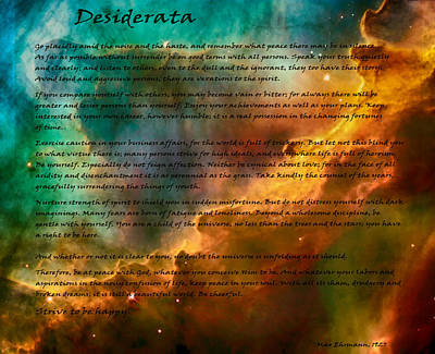 Famous Book Digital Art - Desiderata Over A Star Formation by Eti Reid