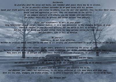 Sky Writer Mixed Media - Desiderata Winter Scene by Dan Sproul