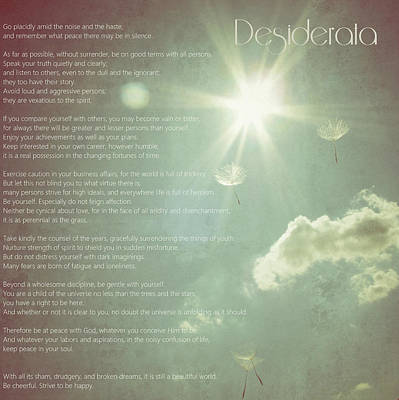 Desiderata Wishes Print by Marianna Mills