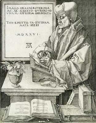 Desk Drawing - Desiderius Erasmus Of Rotterdam, 1526 by Albrecht D?rer or Duerer