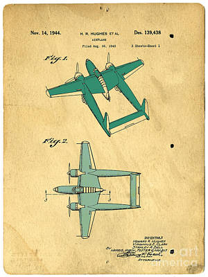 R Drawing - Design For An Airplane  Howard R. Hughes by Edward Fielding