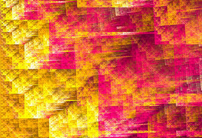 Abstract Digital Art - Design With Warm Yellow Orange And Red Colors by Matthias Hauser
