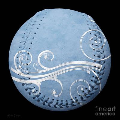 Designer Light Blue Baseball Square Print by Andee Design