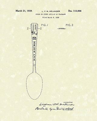 Designer Drawing - Designer Spoon 1939 Patent Art by Prior Art Design