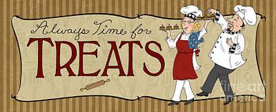 Desserts Kitchen Sign-treats Print by Shari Warren