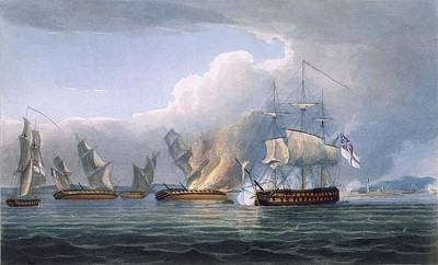 Destruction Of The French Frigates Print by Thomas Whitcombe