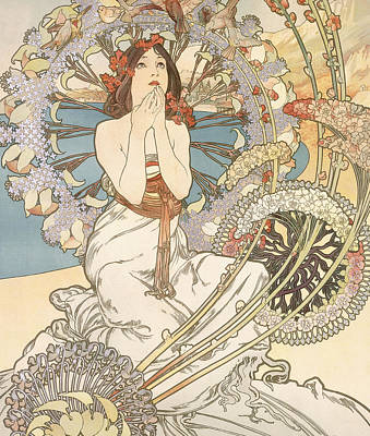 Edge Drawing - Detail From Monaco  Monte Carlo by Alphonse Marie Mucha