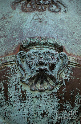 Carving Photograph - Detail Of A Bronze Mortar by Edward Fielding