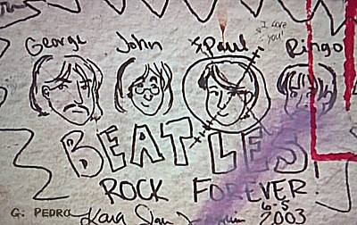 Detail Of Graffiti On Abbey Road Sign Print by George Pedro