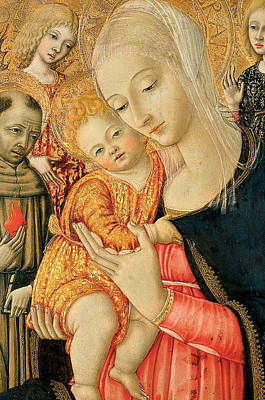 Detail Of Madonna And Child With Angels Print by Matteo di Giovanni di Bartolo