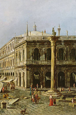 Venetian Balcony Painting - Detail Of Palazzo Della Zecca by Michele Marieschi