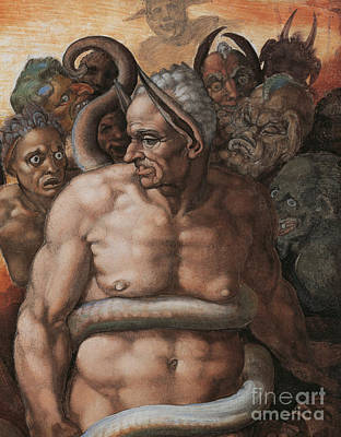 Burmese Python Painting - Detail Of The Last Judgment by Michelangelo