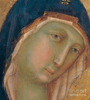 Holy Art Painting - Detail Of The Virgin Mary by Duccio di Buoninsegna