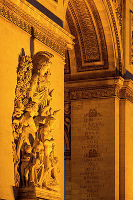 Detail On Arc De Triomphe At Night Print by Brian Jannsen