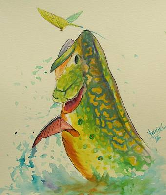 Brook Trout Painting - Determination  by Yusniel Santos