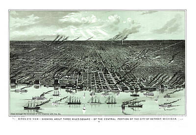 Vintage Map Painting - Detroit - Michigan - 1889 by Pablo Romero