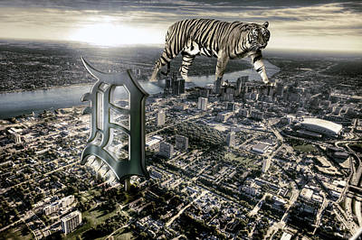 Tiger Digital Art - Detroit by Nicholas  Grunas