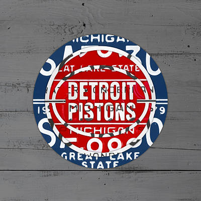 Basketball Mixed Media - Detroit Pistons Basketball Team Retro Logo Vintage Recycled Michigan License Plate Art by Design Turnpike