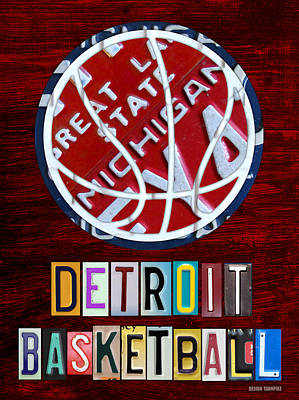 Travel Mixed Media - Detroit Pistons Basketball Vintage License Plate Art by Design Turnpike