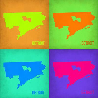 City Map Painting - Detroit Pop Art Map 1 by Naxart Studio