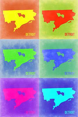 Usa Mixed Media - Detroit Pop Art Map 3 by Naxart Studio