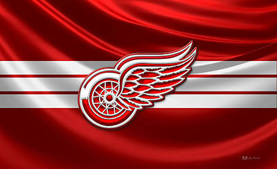 Detroit Red Wings - 3 D Badge Over Silk Flag Original by Serge Averbukh