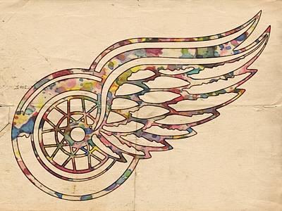 Goaltender Painting - Detroit Red Wings Poster Art by Florian Rodarte