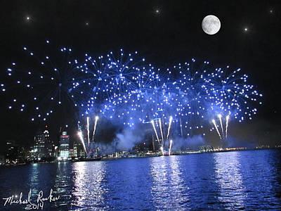Detroit River Fireworks Original by Michael Rucker