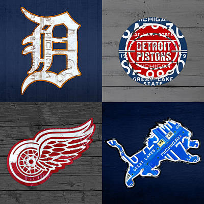Tigers Print featuring the mixed media Detroit Sports Fan Recycled Vintage Michigan License Plate Art Tigers Pistons Red Wings Lions by Design Turnpike