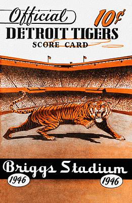 Baseball Card Painting - Detroit Tigers 1946 Scorecard by Big 88 Artworks