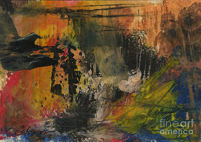 Devil's Cave. Miniature Aceo Abstract Series.  Original by Cathy Peterson
