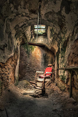 Surreal Photograph - Devils Haircut - Barbers Chair In Cell Block 10 by Gary Heller