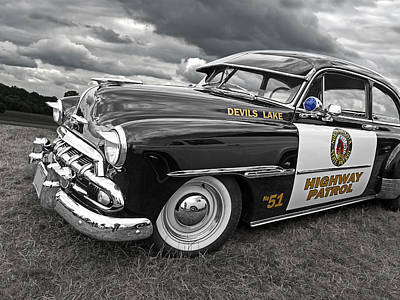 Devils Lake Highway Patrol - '51 Chevy Print by Gill Billington