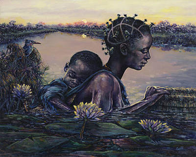 African Woman Painting - Devotion by Dennis Goff